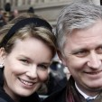 Princess Mathilde and Prince Philippe at the mass