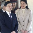 Crown Prince Naruhito is seen off by his wife, Crown Princess Masako