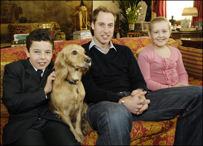 Prince William with the two children during the interview