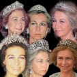 Queen Sofia wearing six of the Spanish tiaras