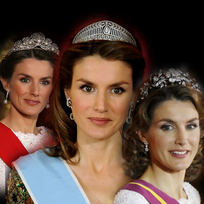 Princess Letizia wearing the Spanish tiaras