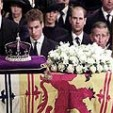 The Queen Mother's coffin rests in Westminster Abbey during her funeral service
