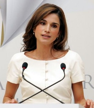 Queen Rania speaks at the opening
