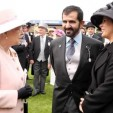 Queen Elizabeth (L) with Sheikh Mohammed (C) and Princess Haya (R)