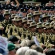 Troops march on the inaugural Armed Forces Day