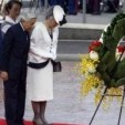 Emperor Akihito and Empress Michiko at the wreath-laying ceremony at Punchbowl