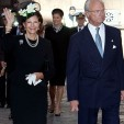 Queen Silvia and King Carl Gustaf arrive for the opening of parliament