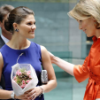 Princess Victoria (L) and Princess Mathilde (R) at the exhibition