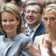Princess Mathilde and Princess Maria Laura at the exhibition