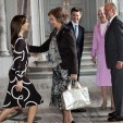 Crown Princess Mary curtsies to Queen Sofia of Spain