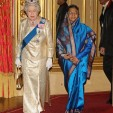 Queen Elizabeth II and President Patil arrive for the state banquet