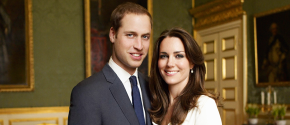 An official engagement portrait of Prince William of Wales and Miss Catherine Middleton