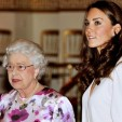 Queen Elizabeth and the Duchess of Cambridge at a private viewing of the summer exhibition at Buckingham Palace