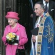 Queen Elizabeth II and the Dean of Westminster leave the Abbey; 12-03-2012