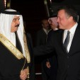 King Hamad and King Abdullah upon the Bahraini monarch's arrival in Jordan