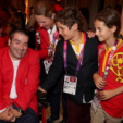 Infanta Elena and her two children chat with a Spanish Paralympian