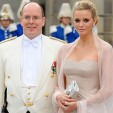 Prince Albert and Princess Charlene at the 2010 wedding of Sweden's Crown Princess Victoria