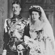 Prince Gustaf Adolf of Sweden and Princess Margaret of Connaught pose for an official wedding portrait