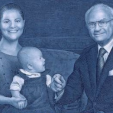 A stamp released to mark King Carl XVI Gustaf's jubilee shows the King, his daughter Victoria and granddaughter Estelle