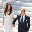 Tatiana Santo Domingo and Andrea Casiraghi on the steps of the Prince's Palace in Monaco following their civil wedding ceremony; 31-08-2013