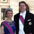Hereditary Prince Hubertus and Hereditary Princess Kelly of Saxe-Coburg and Gotha at the June 2013 wedding of Princess Madeleine of Sweden