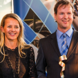Princess Mabel and the winner of the first Prince Friso Engineers Award; 18-03-2015