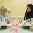 Princess Astrid of Belgium meets with Qatar's Sheikha Mozah in Doha; 22-03-2015