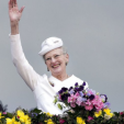 Queen Margrethe on the balcony of the Aarhus City Hall to celebrate her 75th birthday; 08-04-2015