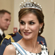 Queen Letizia wears her Ansorena tiara to the Queen of Denmark's 75th birthday gala; 15-04-2015