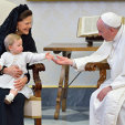 Queen Silvia and Princess Leonore with Pope Francis; 27-04-2015