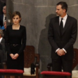 Queen Letizia and King Felipe at the state funeral for victims of the Germanwings air crash; 27-04-2015