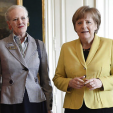 Queen Margrethe II and German Chancellor Angela Merkel during an audience in Copenhagen; 28-04-2015