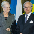 Queen Margrethe and King Carl Gustaf at a concert in Stockholm; 21-04-2015