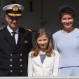 King Philippe, Princess Elisabeth and Queen Mathilde pose for a photo during the baptism of a new Belgian Navy patrol boat; 06-05-2015