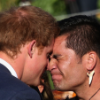 Prince Harry shares a hongi during his first day in New Zealand; 09-05-2015