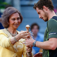 Queen Sofia presents Andy Murray with his trophy following the Mutua Madrid Open 2015 men's final; 10-05-2015
