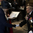 Queen Elizabeth meets with WWII veterans during a thanksgiving service marking the 70th anniversary of VE Day at Westminster Abbey; 10-05-2015