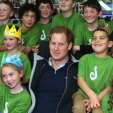Prince Harry poses for a photo with the students of Halfmoon Bay School on Stewart Island; 11-05-2015