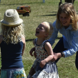Lady Louise Mountbatten-Windsor and Savannah and Isla Phillips play in the sun at the Royal Windsor Horse Show; 16-05-2015