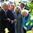 The Prince of Wales, Duchess of Cornwall and Queen Elizabeth view the Sentebale garden at the Chelsea Flower Show; 18-05-2015