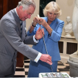 Prince Charles and Camilla cut a cake at Mount Stewart House in Northern Ireland; 22-05-2015