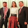 Crown Prince Hussein, Queen Rania and King Abdullah during Independence Day celebrations; 25-05-2015