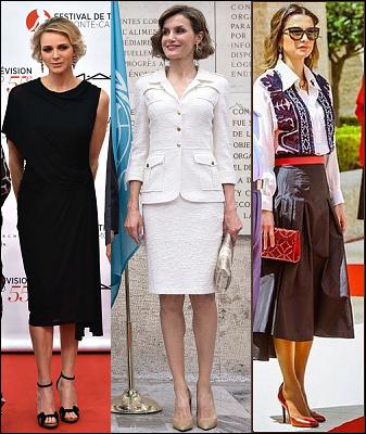 (L-R) Princess Charlene, Queen Letizia and Queen Rania.