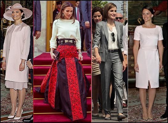 (L-R) Crown Princess Victoria, Queen Rania, Queen Letizia, Sofia Hellqvist.