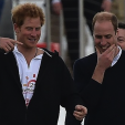 Prince Harry and Prince William laugh after the Audi Polo Challenge; 31-05-2015