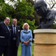 The Duchess of Cornwall with the Duke of Marlborough and Nicholas Soames at the unveiling of a new Winston Churchill memorial at Blenheim Palace; 09-06-2015