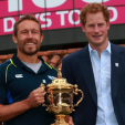 Prince Harry with Jonny Wilkinson and the Rugby World Cup Trophy; 10-06-2015