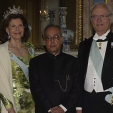 Queen Silvia, President Mukherjee and King Carl Gustaf during the state dinner at the Royal Palace; 01-06-2015