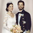 An official wedding photograph of Prince Carl Philip and Princess Sofia of Sweden