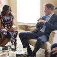 Prince Harry chats with Michelle Obama during a meeting at Kensington Palace; 16-06-2015